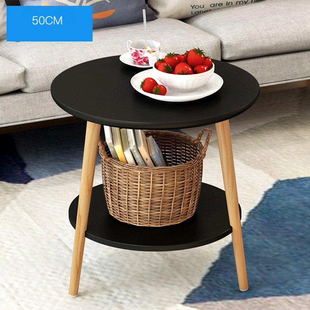 Tavolino rotondo in legno massello Tavolino angolare moderno da salotto Tavolino da salotto 50 * 40 * 49cm ( Colore : Bianca ) QGE-xzu