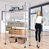 """6 Tier Wire Shelving Rack,Steel Shelf 48"""" W x 18"""" D x 82"""" H Adjustable Storage System with Casters/Wheels and Feet Levelers,Garage Shelving Unit, Storage Shelving Rack,Kitchen/Office Rack"""