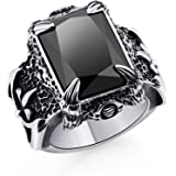 DALARAN Stainless Steel Rings for Men Boys Cool Dragon Claw Ring Men's Gothic Crystal Band Muti-Color
