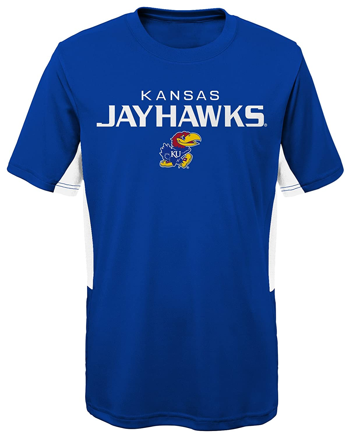 Royal NCAA by Outerstuff NCAA Kansas Jayhawks Youth Boys Mainframe: Short Sleeve Performance Top 18 Youth X-Large