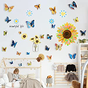 Sunflowers Wall Stickers with 24Pcs 3D Butterfly Decor, AUHOKY Creative Flying Butterflies Yellow Flowers Wallpaper Decals, Removable DIY Art Mural for Nursery Bedroom Bathroom Kitchen Decoration