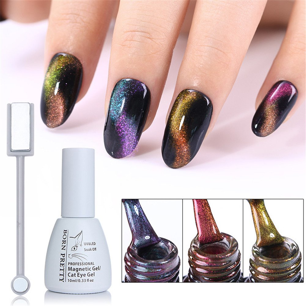 Amazon.com : BORN PRETTY Nail Art Cat Eye Nail Polish Chameleon ...