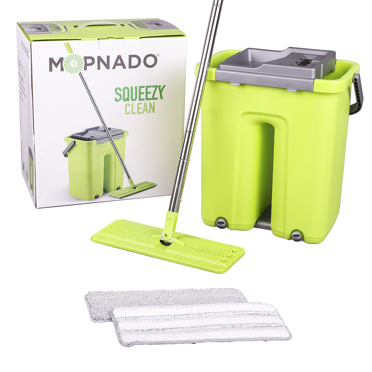 Mopnado Squeezy Clean Self Cleaning Flat mop System with 2 Washable Microfiber Mop Heads