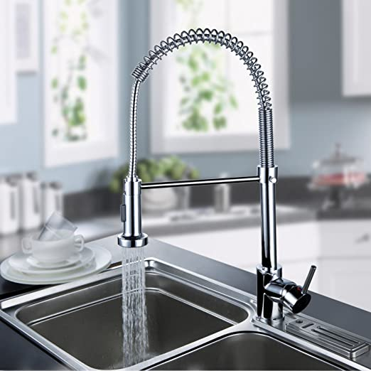 Ouku Deck Mount Contemporary Spring Kitchen Sink Faucet Chrome Finish Tall Curve Spout Bar Faucets Single Hole Kitchen Basin Faucets with Pull Out Led Sprayer 360 Degree Rotatable Swivel Mixer Taps Pull Down Spray Ceramic Valve Plumbing Fixtures YF-1106