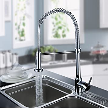 Ouku Deck Mount Contemporary Spring Kitchen Sink Faucet Chrome Finish Tall  Curve Spout Bar Faucets Single