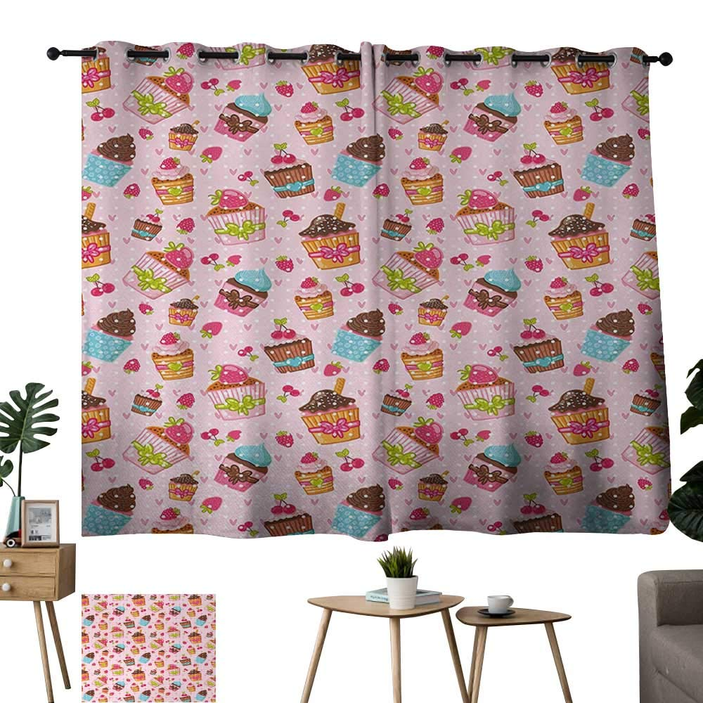 Warm Family Teal Curtains Pink,Kitchen Cupcakes Muffins Strawberries and Cherries Food Eating Sweets Print,Light Pink and Brown 84''x96'',Print Room Darkening Living Room Curtain by Warm Family