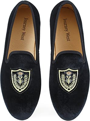 TALLA 46 EU. Los Hombres Zapatos Mocasines de Terciopelo Bordado Negro/Rojo/Azul