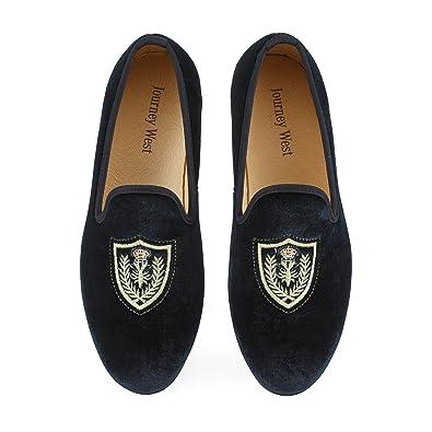 3f67da3557b Journey West Men s Vintage Velvet Loafers with Embroidery Loafers Men  Smoking Slippers Men ...