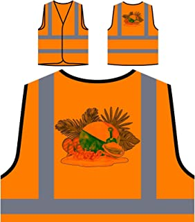 Floreale Hawaii Signora Spiaggia Personalizzato Hi Visibilità Giacca Gilet Arancione di sicurezza p302vo