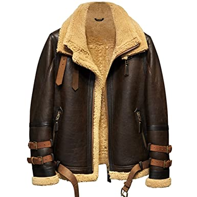 39534e874bf2 Denny Dora Mens Shearling Jacket B3 Flight Jacket Imported Wool from  Australia Short Leather Jacket Mans Fur Coat at Amazon Men s Clothing store