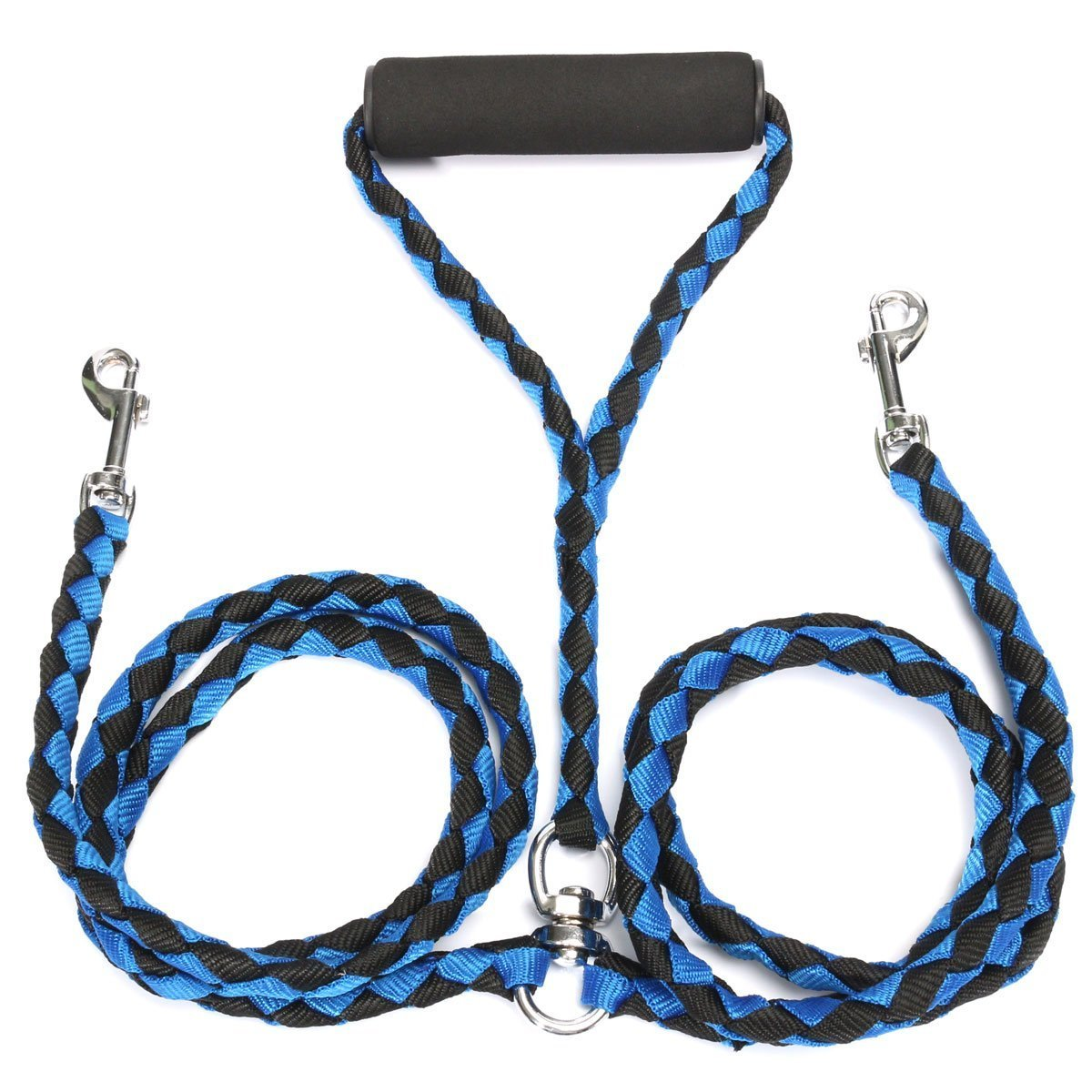 Double Dog Leads for Walking 2 Dogs, No Tangle Dual Dog Lead with Soft Foam Handle for Walking and Training Large/Medium/Small Dogs (black/blue)
