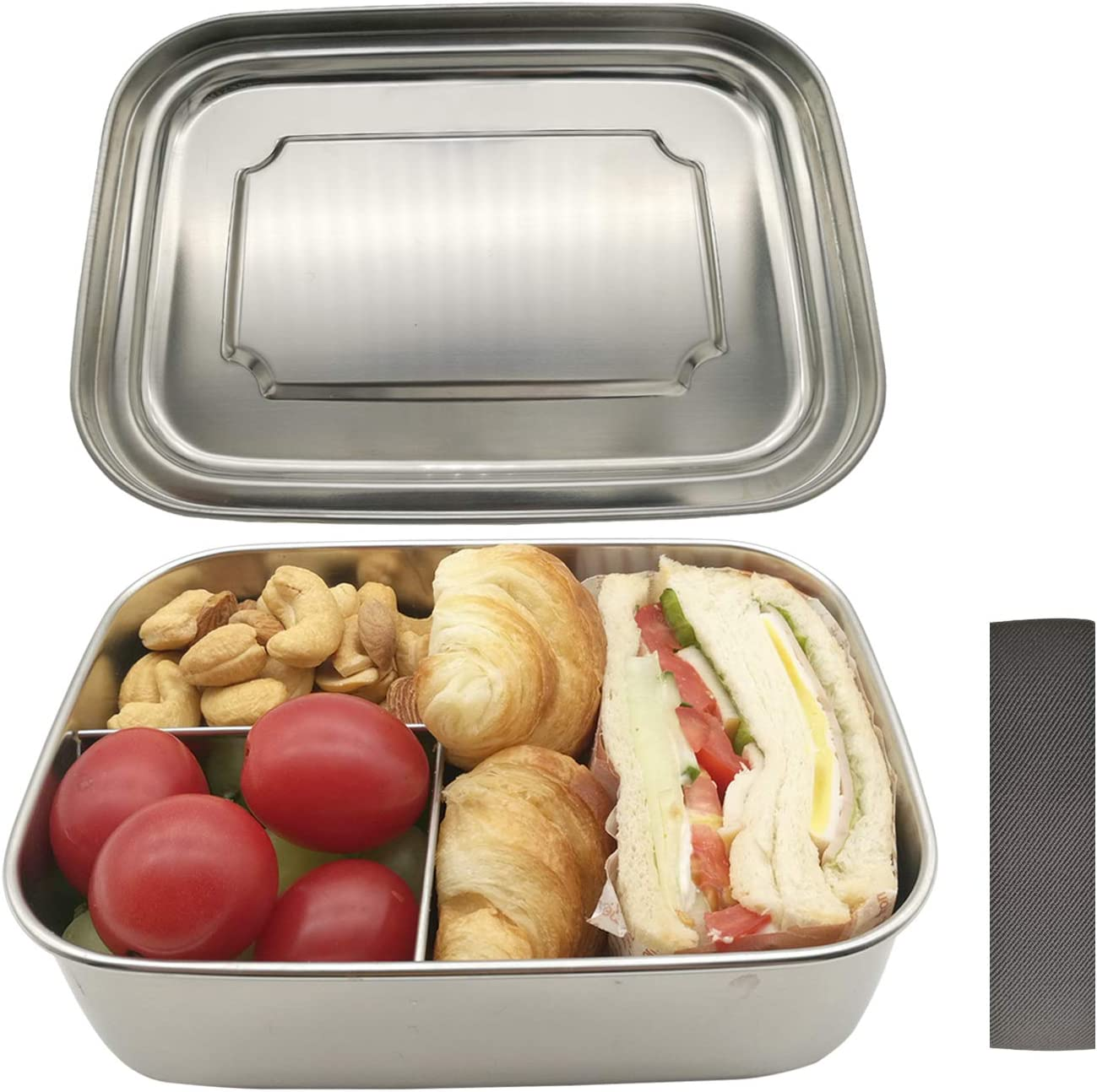 UPTRUST Stainless Steel Bento Lunch container Bento Lunch Box for Kids and Adults. 3 Compartment food Container for Meal Fruit Snack On the Go, Durable Metal Lunch Containers (40OZ/1200ml)