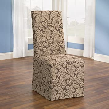 Sure Fit Scroll Box Cushion Full Dining Room Chair Cover Brown
