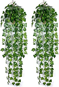 Artificial Plants Set of 2 Wall Hanging Small Faux Green Leaf, 3 Feet Garland Long Greenery for Home Decor, Indoor Bathroom, Decorative Outdoor,Aquarium Ceiling,Front Porch,Christmas,Balcony Corner