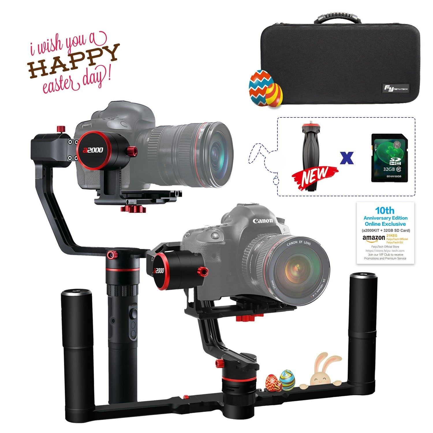 FeiyuTech a2000(10th Anniversary Edition) Dual Grip Handle Kit for DSLR Camera, Foldable Handle,Compatible with NIKON/SONY/CANON Series Camera and lens, ,2 Kilogram Payload, Damping Sliding Arm