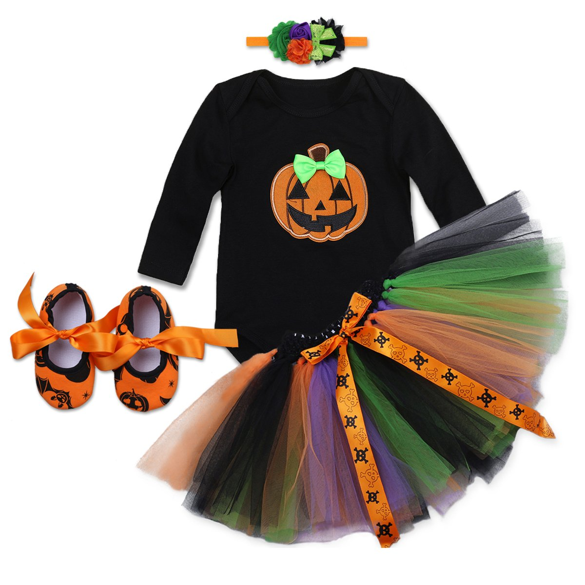 BABY GIRLS 3 Piece Halloween Witch Tutu Bodysuit Tights and Headband 0-18 Months