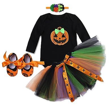 98b4c5c8c Baby Girls Halloween Pumpkin Unicorn Romper Ruffled Tutu Skirt with  Headband Little Pretty Princess Fancy Dress