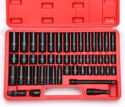 CASOMAN 3//8 Drive Impact Socket Set Cr-V Steel Socket Set 5//16-Inch to 3//4-Inch and 8-22 mm 48 Piece Standard SAE and Metric Sizes 6 Point