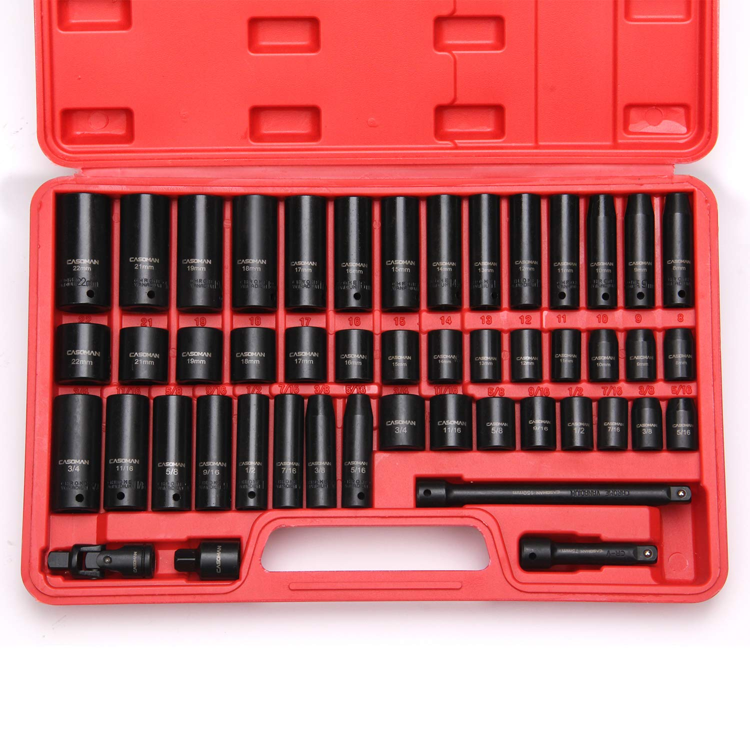 CASOMAN 3/8'' Drive Impact Socket Set, 48 Piece Standard SAE and Metric Sizes (5/16-Inch to 3/4-Inch and 8-22 mm), 6 Point, Cr-V Steel Socket Set by CASOMAN