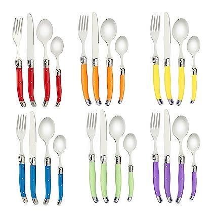 Flying Colors Laguiole Juego de cubiertos de acero inoxidable. Mango multicolor, caja de regalo