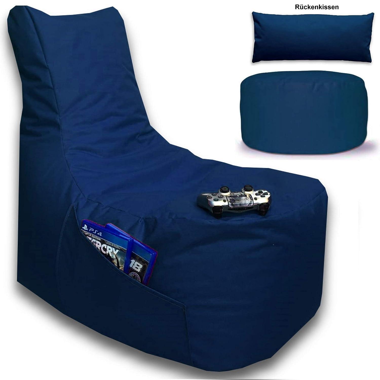 Sitzsack 3er Set BIG GAMER Sessel mit EPS Sytropor Füllung - Rückenkissen - Hocker - In & Outdoor Sitzsäcke Sessel Kissen Sofa Sitzkissen Bodenkissen (BIG GAMER Sitzsack 3er Set UNI Farbe, Marineblau)