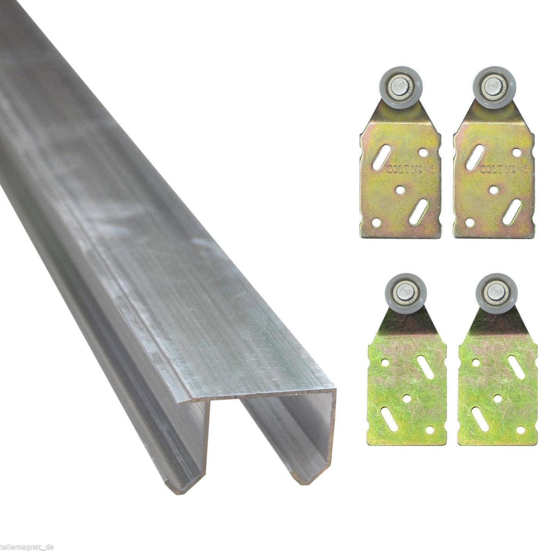 KIT ferrures pour 2 portes coulissantes comprenant 1 rail aluminium double glissiè re 1, 95 m + 4 suspensions (30134+2A+2B) Wilai
