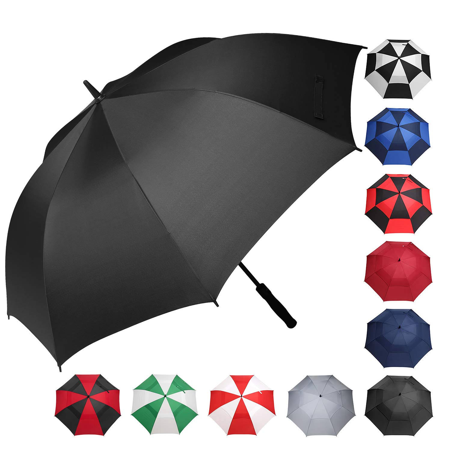 BAGAIL Golf Umbrella 68/62/58 Inch Large Oversize Windproof Waterproof Automatic Open Stick Umbrellas for Men and Women(Black,58 inch)