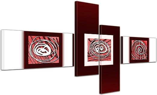 Cuadros en Lienzo - Arte abstracto Abstracto XIV rojo - 140x65cm 4 partes - Listo tensa. Made in Germany!!!: Amazon.es: Hogar