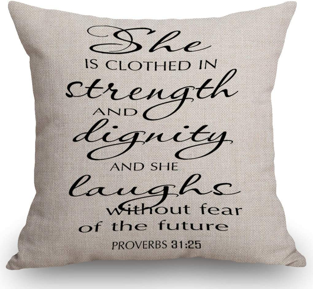 SSOIU Proverbs 31:25 Bible Verse Throw Pillow Covers Farmhouse Decorative Square Pillow Covers 18x18 Inches for Farmhouse Home Decor