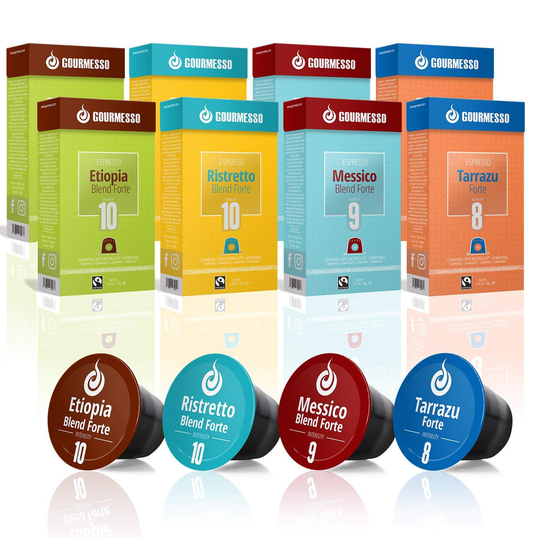 Gourmesso Espresso Forte Bundle - 80 Coffee Capsules works with Nespresso Machines 100% Fair Trade