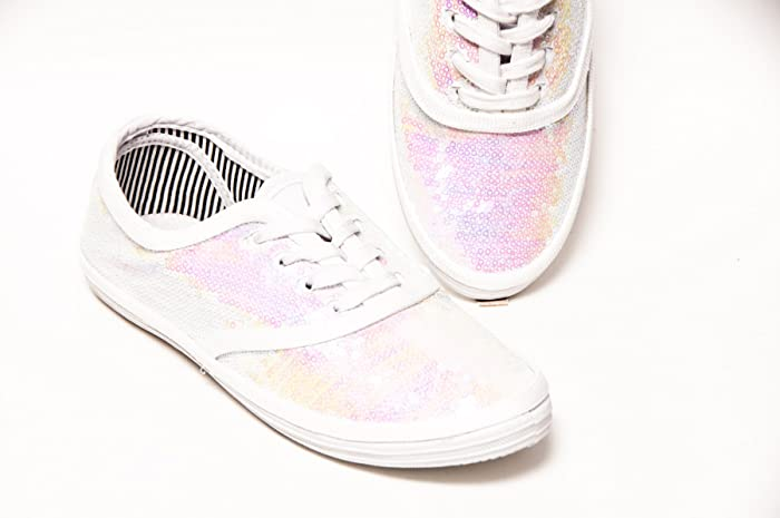 Image Unavailable. Image not available for. Color  Women s Bridal Crystal  Iris White Sequin Canvas Oxford Sneakers ee1d83db59