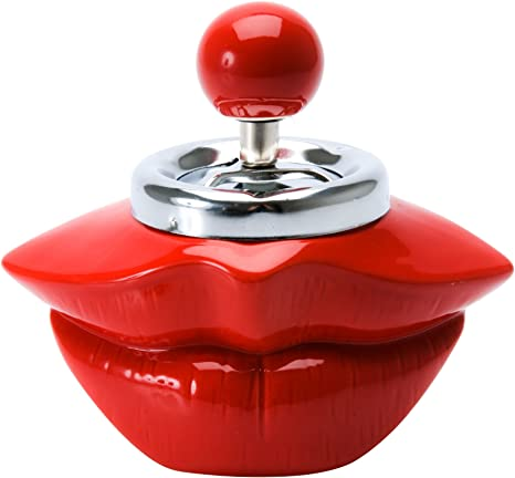 Kepfire Creative Personality Ceramic Red Lips Ashtray European Cute Home Restaurant KTV Coffee Table Decorative Mini Gift