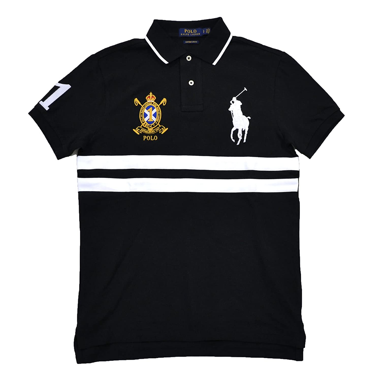 Pony Ralph Big ShirtxlBlack Polo Fit Custom Banner Lauren Men's Multi 354AcjLqR