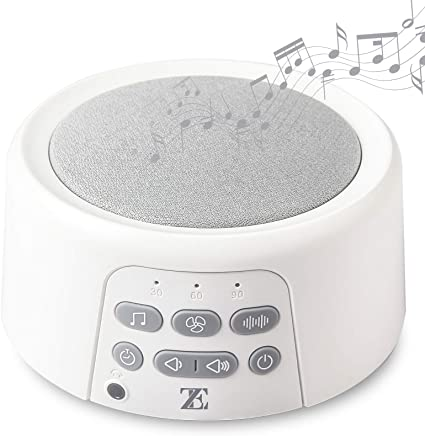 White Noise Machine Sound Machine with Natural Soothing Sounds Portable for Home Office Travel Adjustable Volume Headphone Jack USB Charger Auto-Off Timer