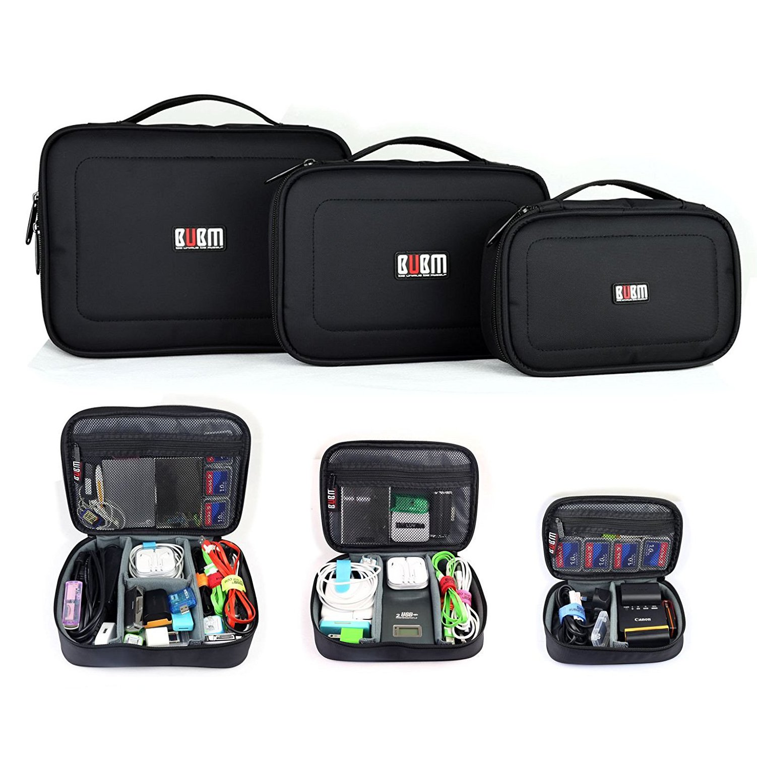 BUBM 3pcs/set Travel Office Gear Organizer Electronics Accessories Bag Small Gadget Carry Storage Bag Pouch