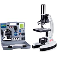 AmScope M30-ABS-KT2-W Beginner Microscope Kit, LED and Mirror Illumination, 300X, 600x, and…