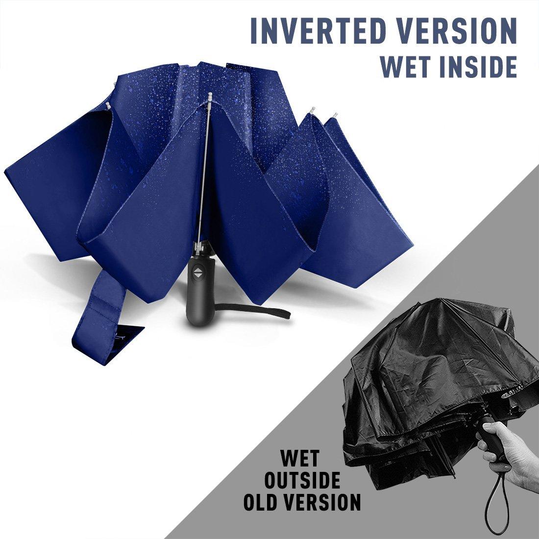 Nesus Umbrella Windproof Travel Umbrella 8 Ribs Auto Open Close with Waterproof Canopy Compact Folding Reverse Umbrella(Blue) by Nesus (Image #2)