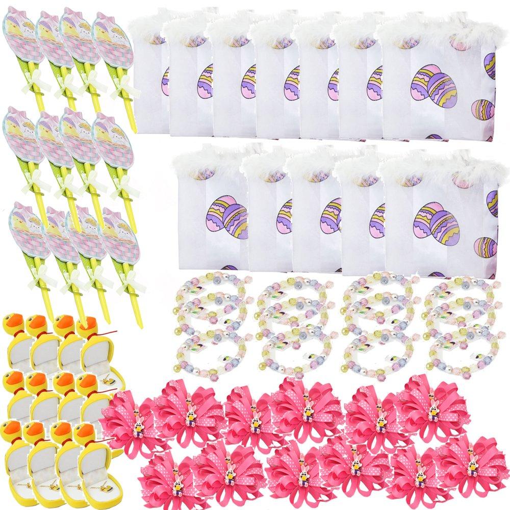 BULK LOT OF Easter Girls Gift Set Includes 12 Easter Purses, 12 Charm Bracelets, 24 Bows, 12 Duck Pendants & 12 Easter Notepad Pen Sets