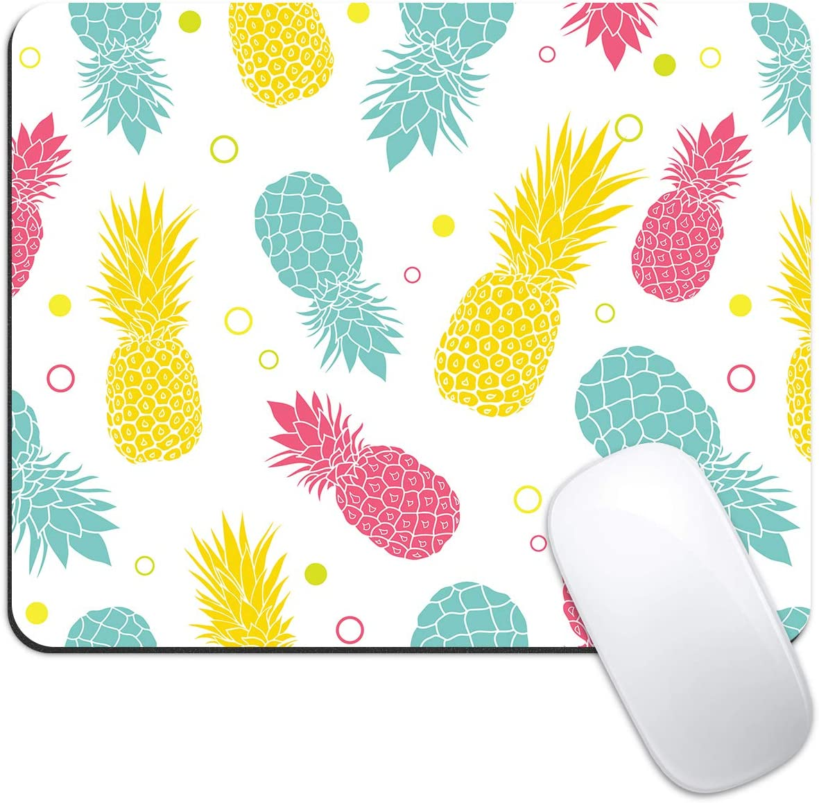 Dynippy Mouse Pad Gaming Mouse Pads Non-Slip Rubber Base Mousepad Square Mouse Mat for Desktops Computer Laptops (Colorful Pineapple)