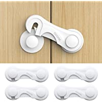 Toplus Baby Proofing Cabinet Locks for Child Safety, Child Safety Cabinet Locks, Child Proof Cabinet Cupboard Lock Latches with 3M Strong Adhesive Tape(4 Pack)