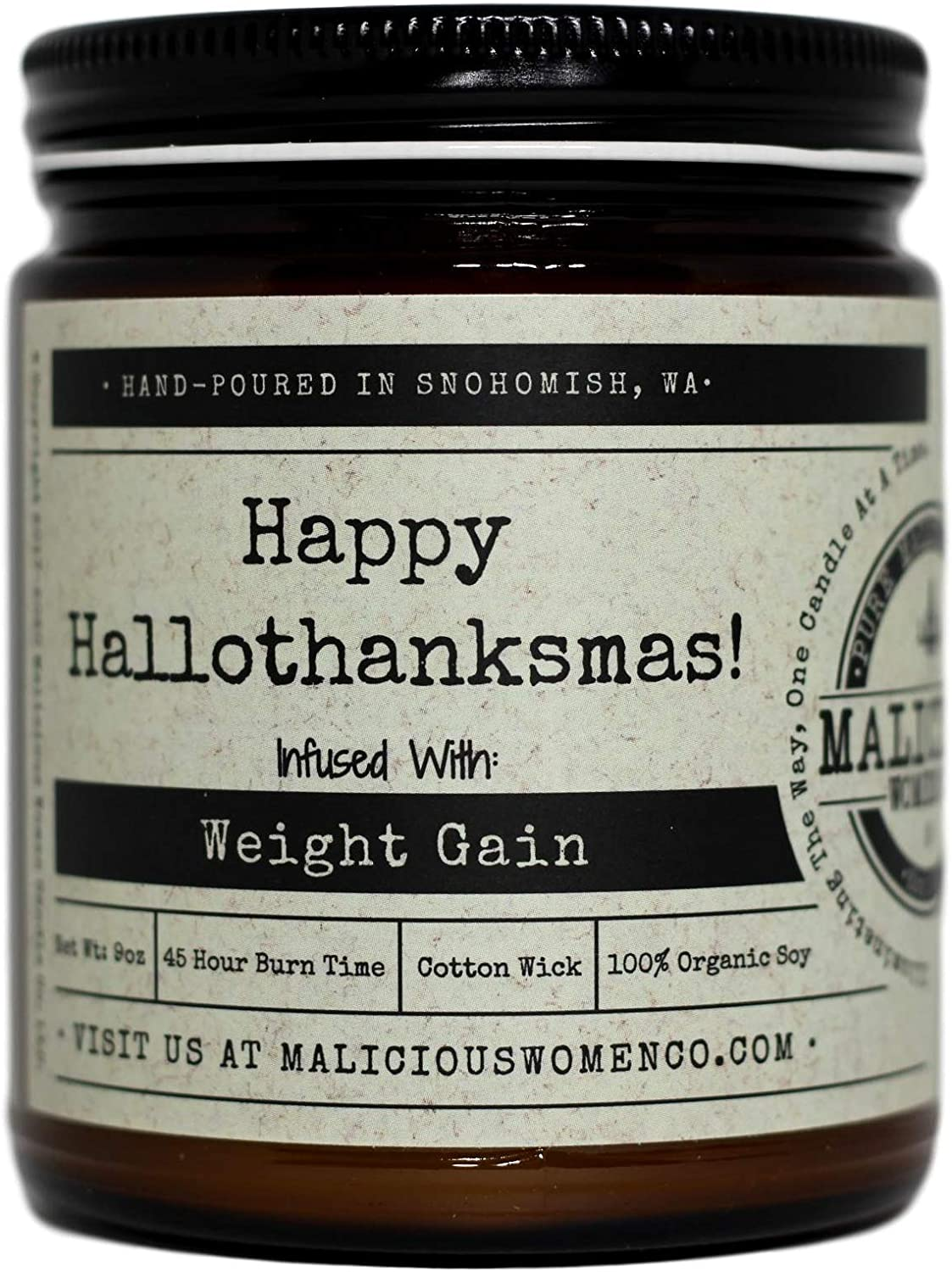 Malicious Women Candle Co - Happy Hallothanksmas, Pumpkin, Apple & Ginger Infused with Weight Gain, All-Natural Organic Soy Candle, 9 oz
