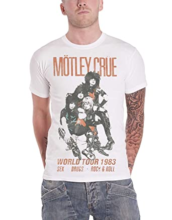 839211ca4fa6 Amazon.com: Motley Crue T Shirt Distressed Vintage World Tour Logo Official  Mens White: Clothing