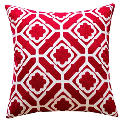 SLOW COW Cotton Embroidery Throw Pillow Cover, Red Floral Patten Decorative  Accent Pillow Cover For