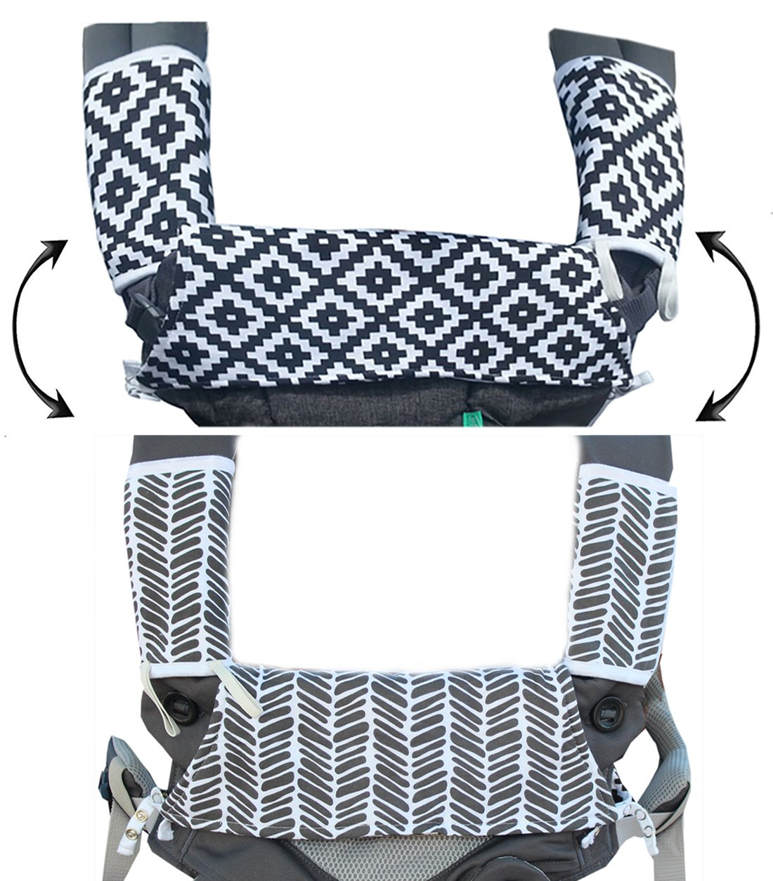 Drool & Teething Pad | Fits All Carriers | Reversible Organic Cotton 3-Piece Set - Ideal for Infant Toddler Girls & Boys [Patent Pending]