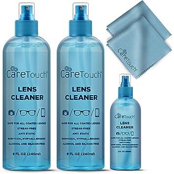 1046de388aa9 Care Touch Alcohol Free Glasses Lens Cleaner Kit | 2 8oz Spray Bottles +  2oz Travel Spray Bottle +2...