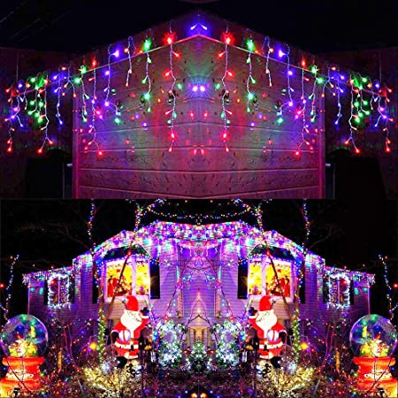 Joomer Led Icicle Lights 300 Led 19 6ft 8 Modes With 60 Drops Icicle Christmas Lights Connectable Outdoor String Lights For Holiday Christmas