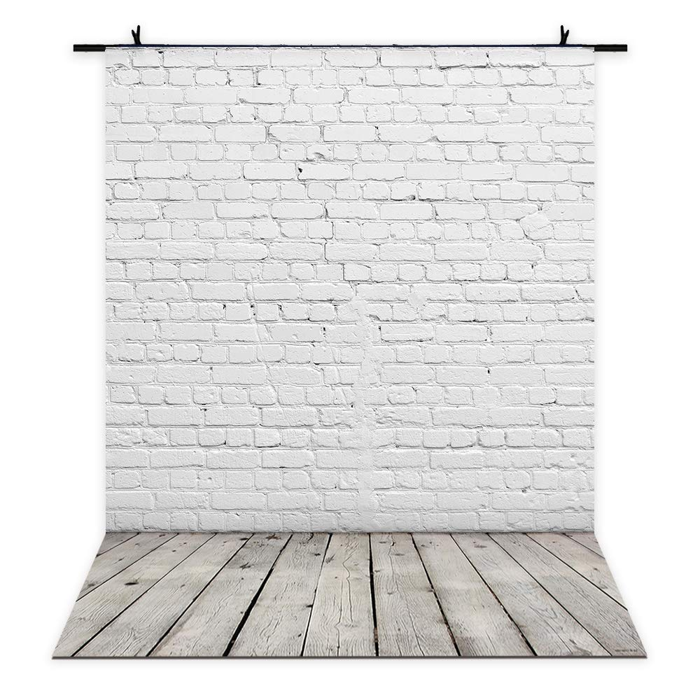 Allenjoy 5x7ft Photography Backdrops White Brick Wall Wooden Floor Background for Kids Product Photo Shoot Professional Photographer Props