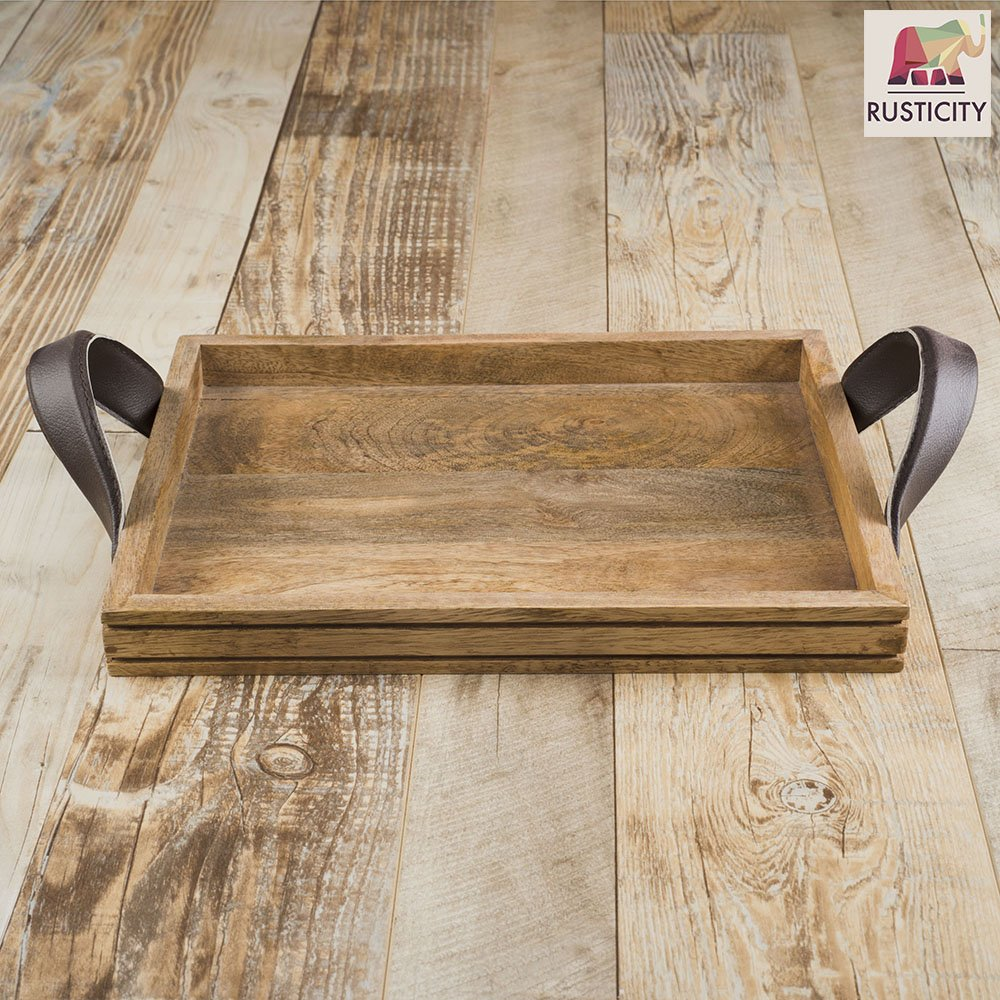 Rusticity/® Wooden Serving Tray for Dining//Breakfast//Coffee Table 14 x 4 x 10 in Handmade | Set of 2 Leather Handle