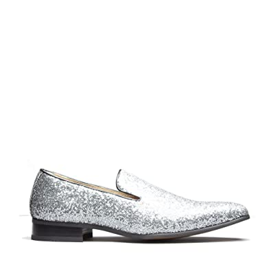 5a1ae359fda Mister Carlo Jackson Mens Sparkling Loafers Black Silver  Amazon.co ...