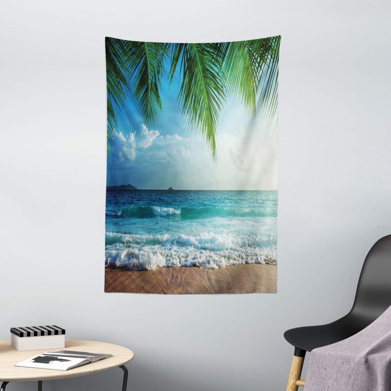 "Ambesonne Ocean Tapestry, Palms Tropical Island Beach Seashore Water Waves Hawaiian Nautical Marine, Wall Hanging for Bedroom Living Room Dorm Decor, 40"" X 60"", Blue Green"